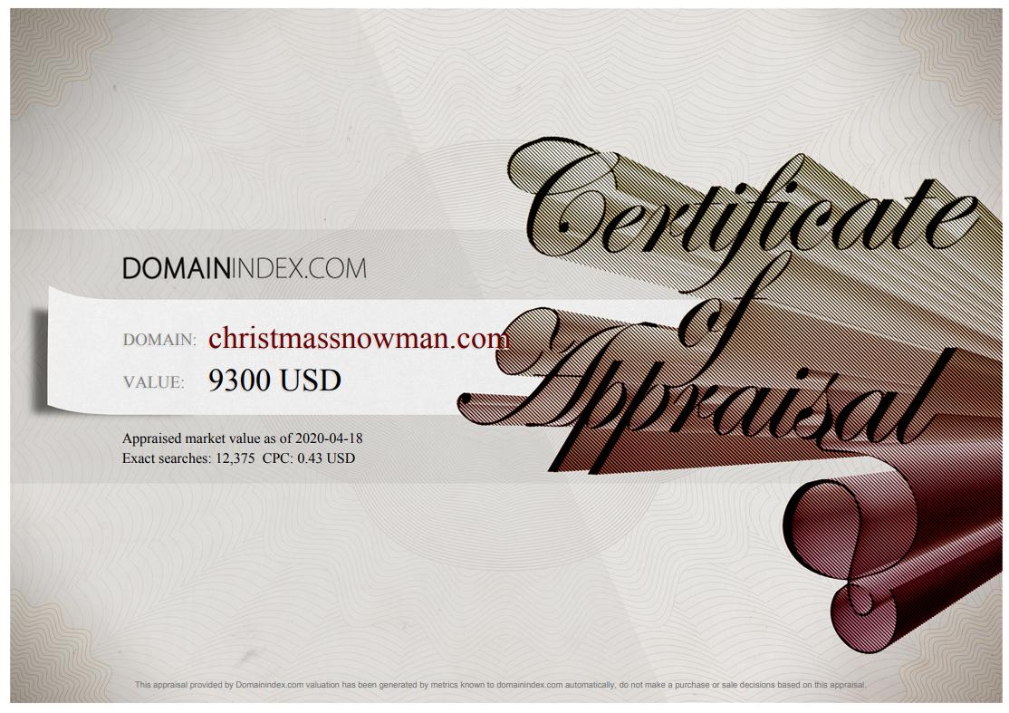 ChristmasSnowman.com Appraisal